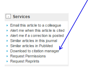 Services > Download to citation manager