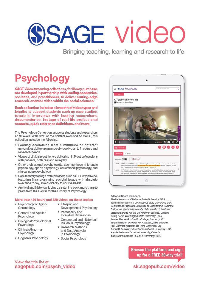 Image of SAGE Video Psychology flyer