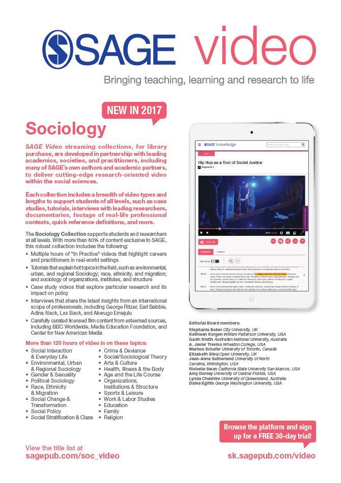 Image of SAGE Video Sociology flyer