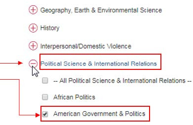 Select Political Science & International Relations, check the box for American Government & Politics click Save.