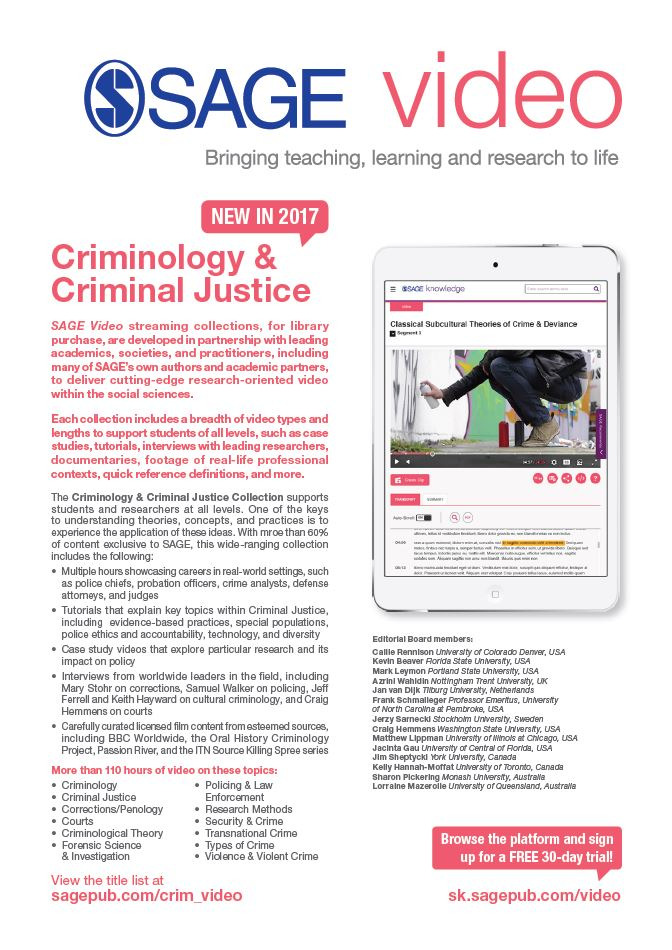 Image of SAGE Video Criminology flyer
