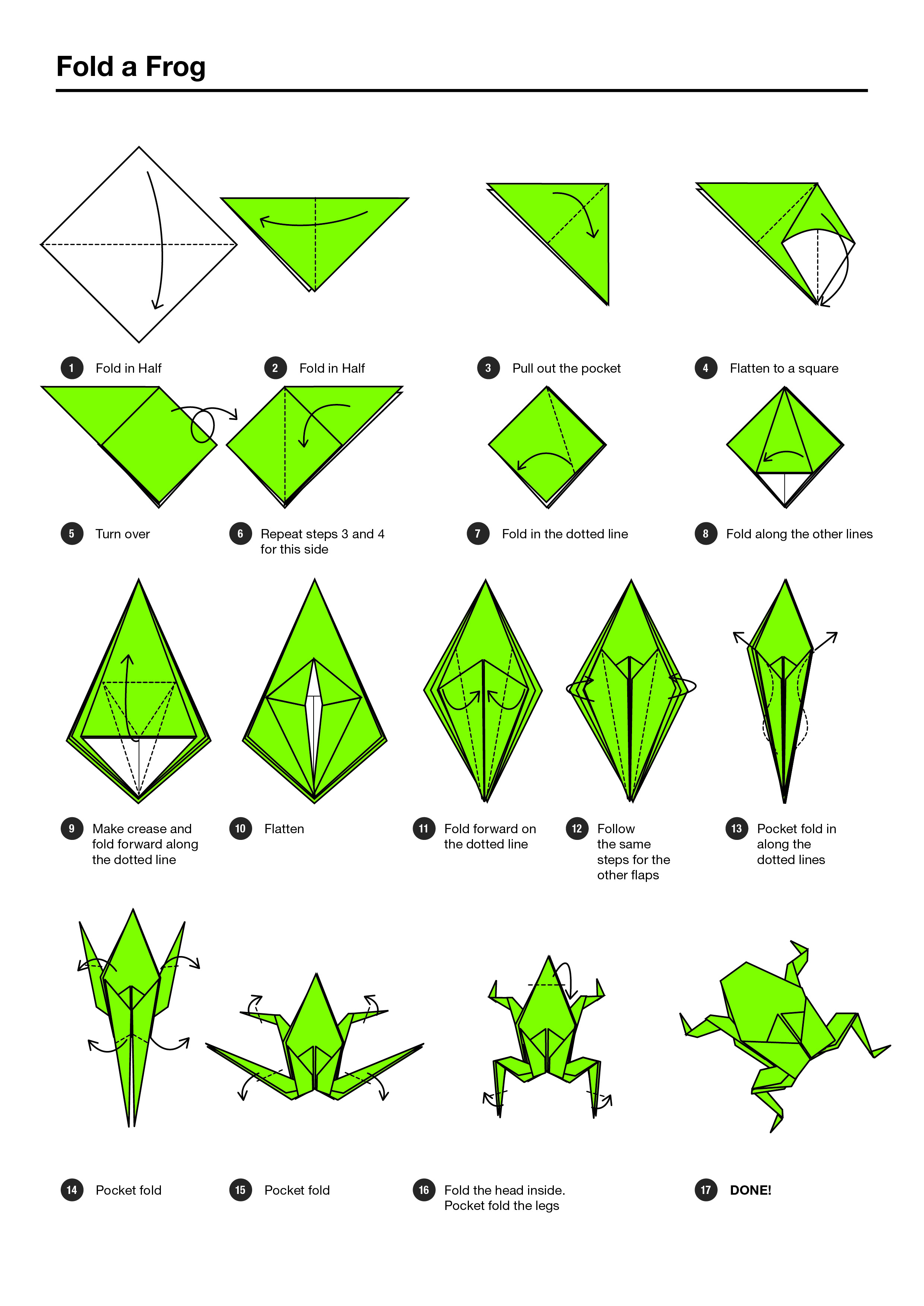 Origami frog step-by-step instructions teaching resource – teach.